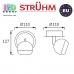 Настенный светильник/корпус, Strühm Poland, накладной, нержавеющая сталь, круглый, чёрный/белый, 1хGU10, KOMBI. Польша!