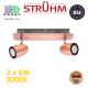 Настенный светодиодный светильник, Strühm Poland, 2x6W, 3000K, накладной, нержавеющая сталь + стекло, медь/хром, RA≥80, RUDA LED. ЕВРОПА