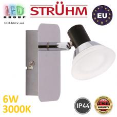 Настенный светодиодный светильник, Strühm Poland, IP44, 6W, 3000K, накладной, нержавеющая сталь + стекло, хром, RA≥80, ZUZA LED. ЕВРОПА