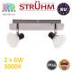 Настенный светодиодный светильник, Strühm Poland, IP44, 2x6W, 3000K, накладной, нержавеющая сталь + стекло, хром, RA≥80, ZUZA LED. ЕВРОПА