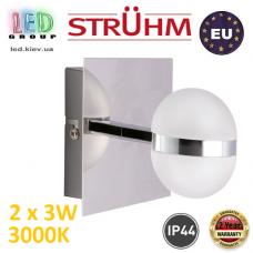 Настенный светодиодный светильник, Strühm Poland, IP44, 2x3W, 3000K, накладной, нержавеющая сталь + стекло, хром, RA≥80, GABI LED. ЕВРОПА