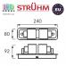 Настенный светильник/корпус, Strühm Poland, накладной, нержавеющая сталь + стекло, хром/белый, RA=100, 2хGU9, KRISTIN. ЕВРОПА!