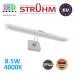 Настенный светодиодный светильник, Strühm Poland, IP44, 8.5W, 4000K, накладной, алюминий + стекло, прямоугольный, хром, RA≥80, AMELIA LED. ЕВРОПА
