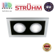 Потолочный светильник/корпус, Strühm Poland, встроенный, алюминий + пластмасса, прямоугольный, серебряный/чёрный, 2хGU10, BORYS L. Польша!