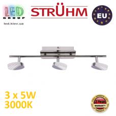 Настенный светодиодный светильник, Strühm Poland, 3x5W, 3000K, накладной, нержавеющая сталь + акриловое стекло, хром, RA>80, ARTO LED. Польша!