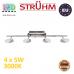 Настенный светодиодный светильник, Strühm Poland, 4x5W, 3000K, накладной, нержавеющая сталь + акриловое стекло, хром, RA≥80, ARTO LED. ЕВРОПА