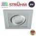 Потолочный светильник/корпус, Strühm Poland, встроенный, алюминий + пластмасса, квадратный, серебряный, 1хGU10, BORYS D. ЕВРОПА