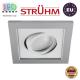 Потолочный светильник/корпус, Strühm Poland, встроенный, алюминий + пластмасса, квадратный, серебряный/белый, 1хGU10, BORYS D. ЕВРОПА