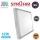 Потолочный светодиодный светильник, Strühm Poland, IP44, 12W, 4000K, накладной, сталь + пластмасса, квадратный, серебряный, RA>80, ALEX LED D. ЕВРОПА!