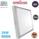 Потолочный светодиодный светильник, Strühm Poland, IP44, 24W, 4000K, накладной, сталь + пластмасса, квадратный, серебряный, RA>80, ALEX LED D. ЕВРОПА!