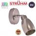 Настенный светильник/корпус, Strühm Poland, накладной, нержавеющая сталь + стекло, круглый, хром, RA=100, 1хGU9, ETNA. Польша!