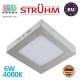 Потолочный светодиодный светильник, Strühm Poland, 6W, 4000K, накладной, сталь + пластик, квадратный, матовый хром, RA≥80, MARTIN LED D. ЕВРОПА