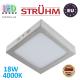 Потолочный светодиодный светильник, Strühm Poland, 18W, 4000K, накладной, сталь + пластмасса, квадратный, матовый хром, RA>80, MARTIN LED D. ЕВРОПА!