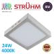 Потолочный светодиодный светильник, Strühm Poland, 24W, 4000K, накладной, сталь + пластмасса, квадратный, матовый хром, RA>80, MARTIN LED D. ЕВРОПА!