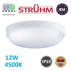 Потолочный светодиодный светильник, Strühm Poland, IP65, 12W, 4500K, накладной, пластиковый, круглый, белый, RA≥80, MARKUS LED C. ЕВРОПА