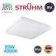 Потолочный светодиодный светильник, Strühm Poland, IP44, 20W, 4000K, накладной, сталь + пластмасса, квадратный, белый, RA>80, SOLA LED D SLIM. ЕВРОПА!