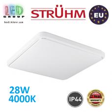 Потолочный светодиодный светильник, Strühm Poland, IP44, 28W, 4000K, накладной, сталь + пластик, квадратный, белый, RA>80, SOLA LED D SLIM. Польша!