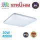 Потолочный светодиодный светильник, Strühm Poland, IP44, 20W, 4000K, накладной, сталь + пластмасса, квадратный, белый, RA>80, OPERA LED C. ЕВРОПА!