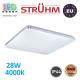 Потолочный светодиодный светильник, Strühm Poland, IP44, 28W, 4000K, накладной, сталь + пластмасса, квадратный, белый, RA>80, OPERA LED C. ЕВРОПА!