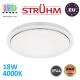 Потолочный светодиодный светильник, Strühm Poland, IP44, 18W, 4000K, накладной, сталь + пластик, круглый, белый, RA≥80, SOLA LED C SLIM. ЕВРОПА