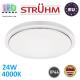Потолочный светодиодный светильник, Strühm Poland, IP44, 24W, 4000K, накладной, сталь + пластмасса, круглый, белый, RA>80, SOLA LED C SLIM. Польша!