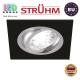 Потолочный светильник/корпус, Strühm Poland, встроенный, алюминий, квадратный, чёрный матовый/хром, 1хGU10, ALUM D. ЕВРОПА