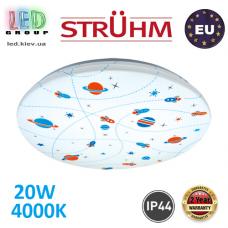Потолочный светодиодный светильник, Strühm Poland, IP44, 20W, 4000K, накладной, сталь + пластик, круглый, белый, RA>80, KIDI LED COSMOS. ЕВРОПА!