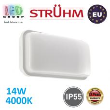 Настенный светодиодный светильник, Strühm Poland, IP55, 14W, 4000K, накладной, пластиковый, прямоугольный, белый, RA≥80, ALBIN LED. ЕВРОПА