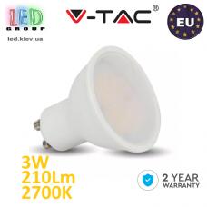 Светодиодная LED лампа V-TAC, 3W, GU10, 2700К – тёплое свечение. ЕВРОПА!!! Гарантия - 2 года
