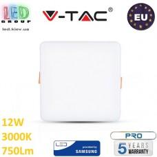 Светодиодная LED панель, V-TAC, 12W, 3000K, SAMSUNG CHIP, RA≥80, квадратная. ЕВРОПА!!! Premium. Гарантия - 5 лет