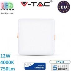 Светодиодная LED панель, V-TAC, 12W, 4000K, SAMSUNG CHIP, RA≥80, квадратная. ЕВРОПА!!! Premium. Гарантия - 5 лет