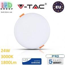 Светодиодная LED панель V-TAC, 24W, 3000K, SAMSUNG CHIP, RA≥80, круглая. ЕВРОПА!!! Premium. Гарантия - 5 лет