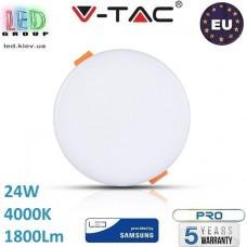 Светодиодная LED панель, V-TAC, 24W, 4000K, SAMSUNG CHIP, RA≥80, круглая. ЕВРОПА!!! Premium. Гарантия - 5 лет