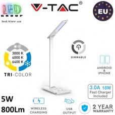Настольная светодиодная лампа LED V-TAC, 5W, 230V, 3000-6400К, диммируемая, четыре уровня яркости, белая. ЕВРОПА!!!