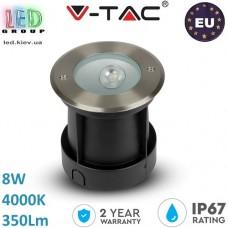 Тротуарно-грунтовой светодиодный светильник V-TAC, 8W, 4000К, LED COB UNDERGROUND LIGHT, косое свечение, круглый, чёрный + нержавеющая сталь. ЕВРОПА!!!