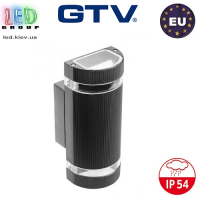 Светильник/корпус GTV, фасадный, уличный, IP54, двунаправленный, накладной, чёрный, 2xGU10, SILVA. ЕВРОПА!