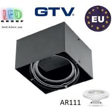 Светильник/корпус GTV, накладной, под лампу AR111, поворотный, квадратный, чёрный, одиночный, PIREO N. ПОЛЬША!!!