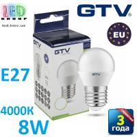 Светодиодная LED лампа GTV, 8W, E27, G45, шарик, 4000К – нейтральное свечение. ЕВРОПА!!! Гарантия - 3 года