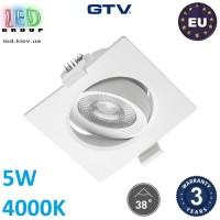 Светодиодный светильник GTV, 5W (ЕМС +), 4000К, квадратный, встраиваемый, VOLARE. ЕВРОПА!!! Гарантия - 3 года