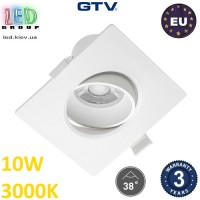 Светодиодный светильник GTV, 10W (EMC+), 3000К, квадратный, встраиваемый, VOLARE. ЕВРОПА!!! Гарантия - 3 года