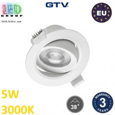 Светодиодный светильник GTV, 5W (ЕМС +), 3000К, круглый, встраиваемый, VOLARE. ПОЛЬША!!! Гарантия - 3 года