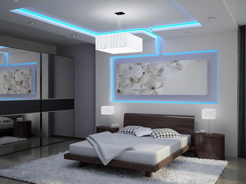 Как сделать фоновую подсветку потолка светодиодной лентой